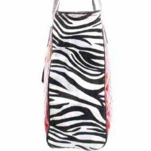 Tiger stripe tote bag with floral detail